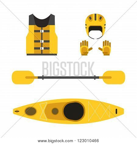 Rafting and kayaking icons collection. Rafting equipment. Life vest jacket paddle oar kayak boat rafting helmet and gloves vector pictogram in flat design. River boat trip web elements.
