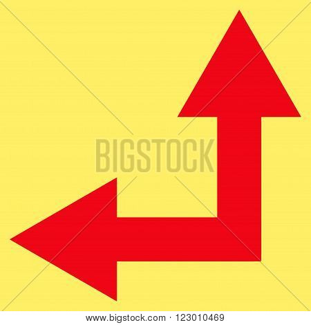 Bifurcation Arrow Left Up vector symbol. Image style is flat bifurcation arrow left up pictogram symbol drawn with red color on a yellow background.