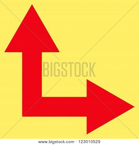 Bifurcation Arrow Right Up vector symbol. Image style is flat bifurcation arrow right up pictogram symbol drawn with red color on a yellow background.