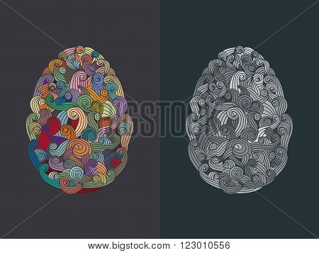 egg or oval shaped organic smoky motif pattern illustration for various design or eastern greeting card