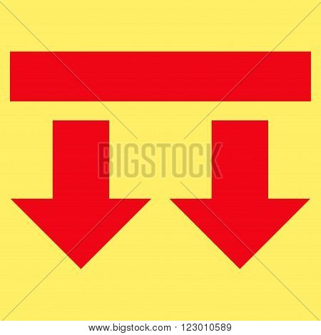 Bring Down vector icon symbol. Image style is flat bring down pictogram symbol drawn with red color on a yellow background.