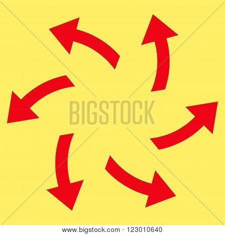 Centrifugal Arrows vector pictogram. Image style is flat centrifugal arrows pictogram symbol drawn with red color on a yellow background.
