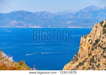 Coastal Summer Landscape Of Corsica With Rocks