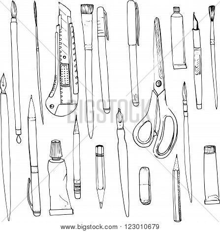 stationery, art materials, line drawing pens and pencils,  tubes of paint, brushes, hand drawn vector illustration