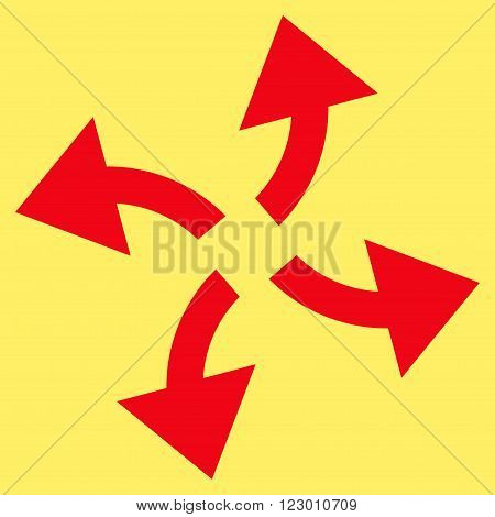 Centrifugal Arrows vector icon symbol. Image style is flat centrifugal arrows pictogram symbol drawn with red color on a yellow background.
