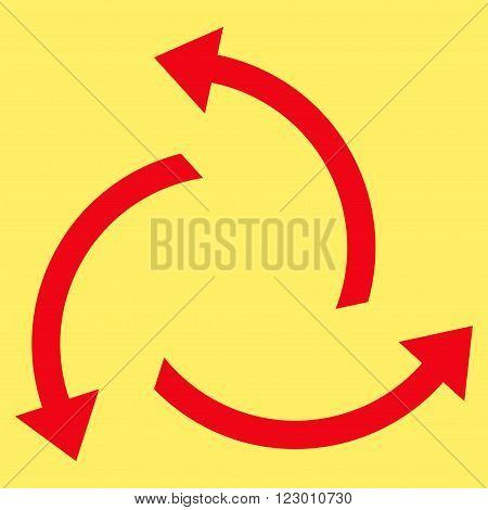 Centrifugal Arrows vector icon. Image style is flat centrifugal arrows iconic symbol drawn with red color on a yellow background.