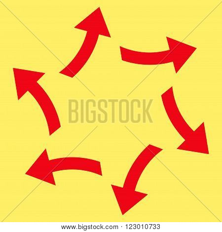 Centrifugal Arrows vector pictogram. Image style is flat centrifugal arrows icon symbol drawn with red color on a yellow background.