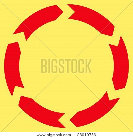 Circulation vector icon symbol. Image style is flat circulation iconic symbol drawn with red color on a yellow background.