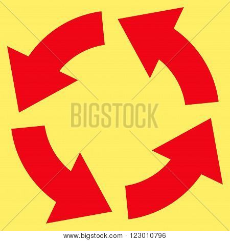 Circulation vector icon symbol. Image style is flat circulation icon symbol drawn with red color on a yellow background.
