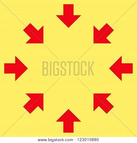 Compact Arrows vector icon. Image style is flat compact arrows iconic symbol drawn with red color on a yellow background.