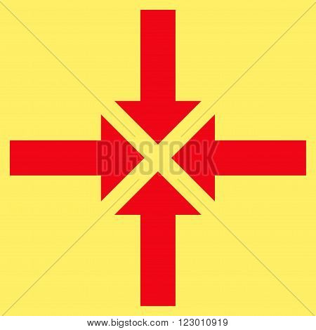 Compress Arrows vector pictogram. Image style is flat compress arrows pictogram symbol drawn with red color on a yellow background.