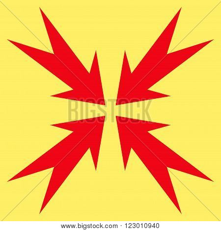 Compression Arrows vector pictogram. Image style is flat compression arrows pictogram symbol drawn with red color on a yellow background.