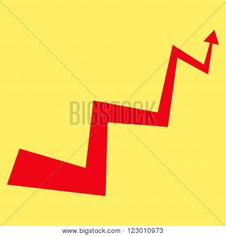 Curve Arrow vector symbol. Image style is flat curve arrow pictogram symbol drawn with red color on a yellow background.