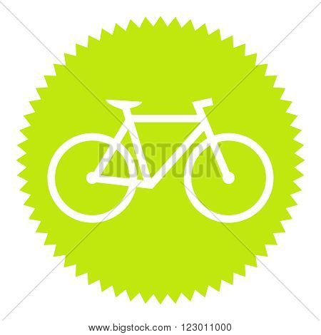 Isolated Green round Button shows bike symbol