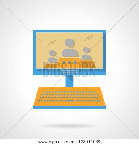 Computer monitor with three persons. Webinars. Online lecture. Distance education. Vector icon flat color style. Web design element for site, mobile and business.