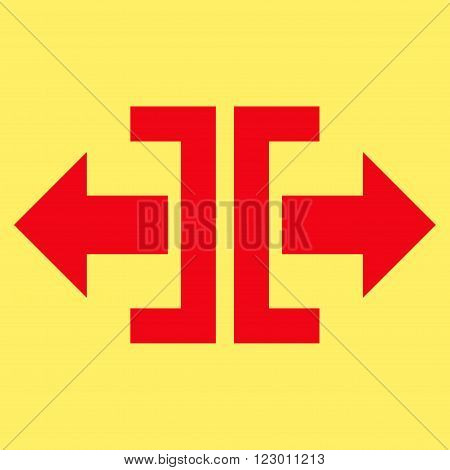 Divide Horizontal Direction vector pictogram. Image style is flat divide horizontal direction icon symbol drawn with red color on a yellow background.