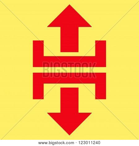 Divide Vertical Direction vector icon symbol. Image style is flat divide vertical direction icon symbol drawn with red color on a yellow background.