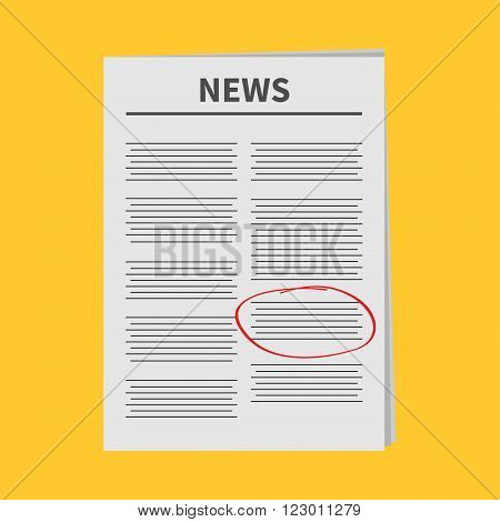 Newspaper icon Red pen skrible mark Flat design Isolated Yellow background White background Vector illustration