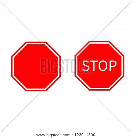 Stop traffic warning road sign set. Prohibition no symbol. Template Isolated on white background. Flat design Vector illustration