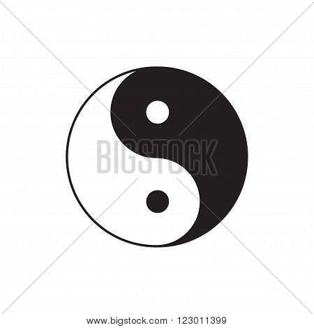 Yin Yang sign icon. Feng shui symbol. White and black. Isolated Flat design Vector illustration