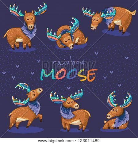 Collection with cute hand drawn mooses in cartoon style. Elks with rainbow antlers. Vector illustration