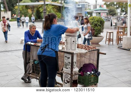 Sevilla, Spain - October 22 2015: Traditional Sellers Of Hot Chestnuts in the citycentre of Sevilla