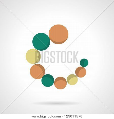 Circular loader with orange, green and yellow balls. Web signs. Vector icon flat color style. Web design element for site, mobile and business.