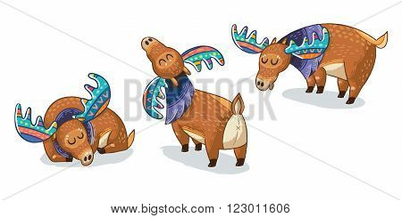 Collection with cute hand drawn mooses in cartoon style. Elks with rainbow antlers. Character design set.Vector illustration