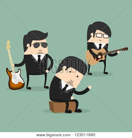 Group of young male musicians vector illustration