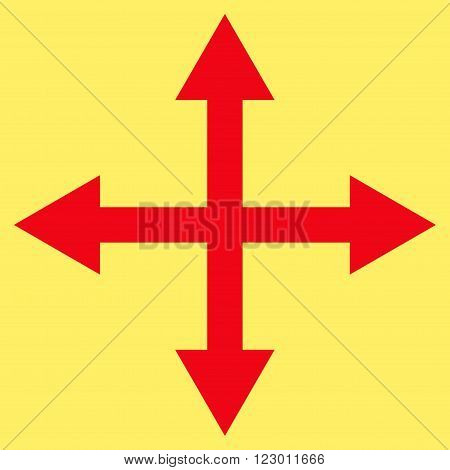 Expand Arrows vector icon. Image style is flat expand arrows iconic symbol drawn with red color on a yellow background.
