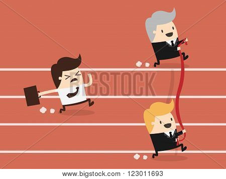 Businessman reaching the finishing line. Business Concept Cartoon Illustration.