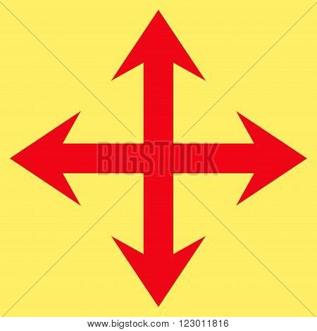 Expand Arrows vector icon symbol. Image style is flat expand arrows icon symbol drawn with red color on a yellow background.