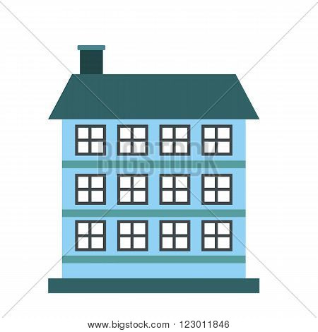 Three-storey house icon in flat style isolated on white background