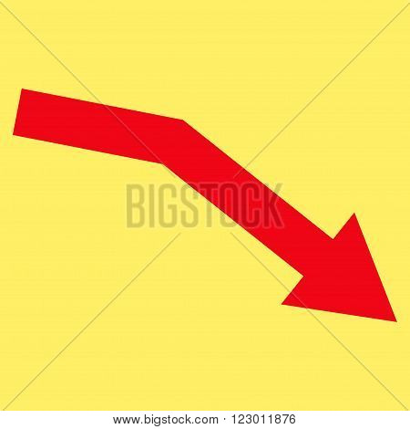 Fail Trend vector icon. Image style is flat fail trend icon symbol drawn with red color on a yellow background.