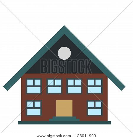 Two-storey house icon in flat style isolated on white background