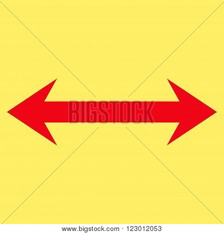 Horizontal Flip vector icon symbol. Image style is flat horizontal flip pictogram symbol drawn with red color on a yellow background.