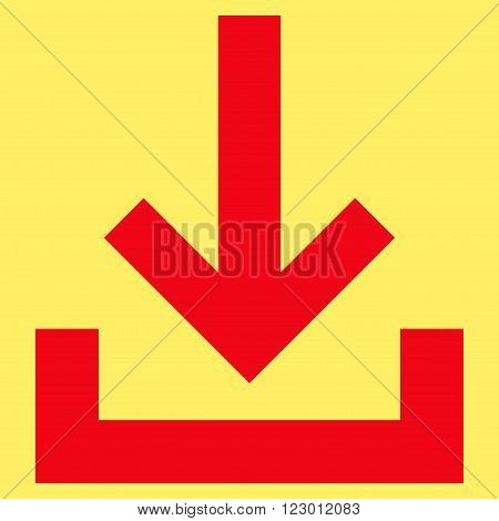 Inbox vector icon. Image style is flat inbox pictogram symbol drawn with red color on a yellow background.
