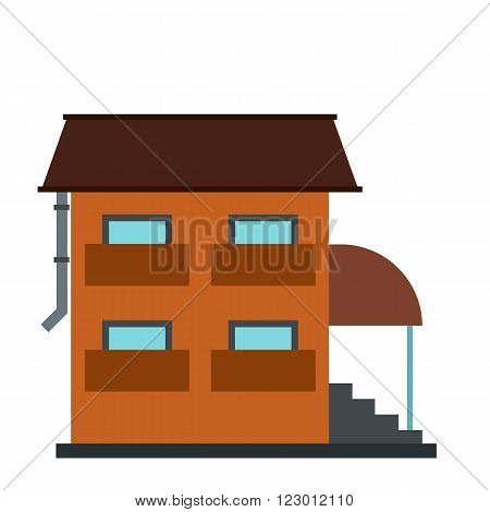 Two-storey house with porch icon in flat style isolated on white background