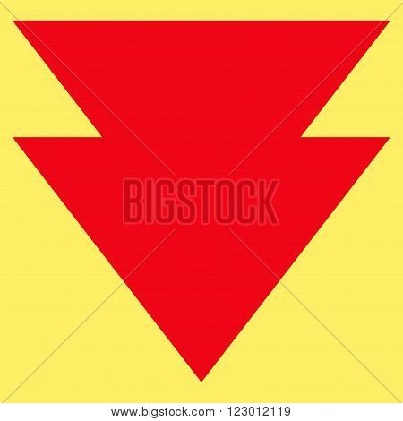 Move Down vector pictogram. Image style is flat move down iconic symbol drawn with red color on a yellow background.