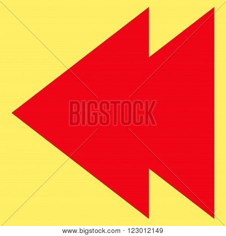 Move Left vector icon. Image style is flat move left iconic symbol drawn with red color on a yellow background.