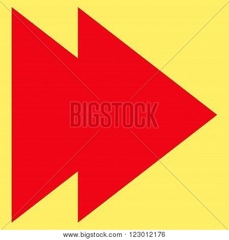 Move Right vector symbol. Image style is flat move right pictogram symbol drawn with red color on a yellow background.