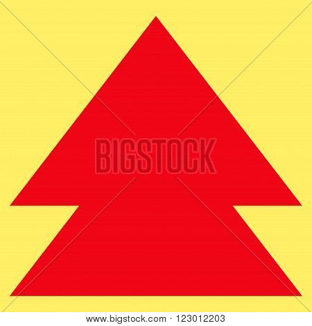 Move Up vector icon symbol. Image style is flat move up pictogram symbol drawn with red color on a yellow background.