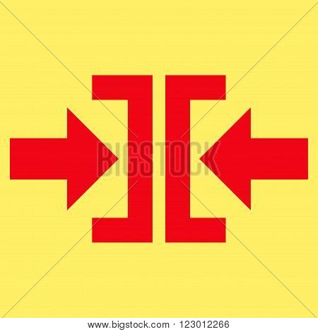 Press Horizontal Direction vector icon symbol. Image style is flat press horizontal direction iconic symbol drawn with red color on a yellow background.