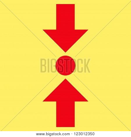Pressure Vertical vector pictogram. Image style is flat pressure vertical pictogram symbol drawn with red color on a yellow background.