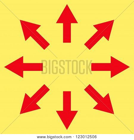 Radial Arrows vector pictogram. Image style is flat radial arrows iconic symbol drawn with red color on a yellow background.
