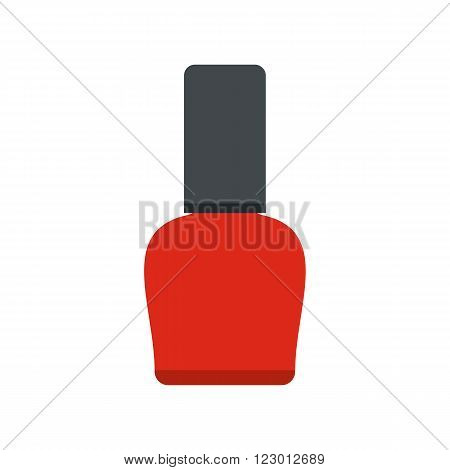 Red nail polish bottle icon in flat style isolated on white background