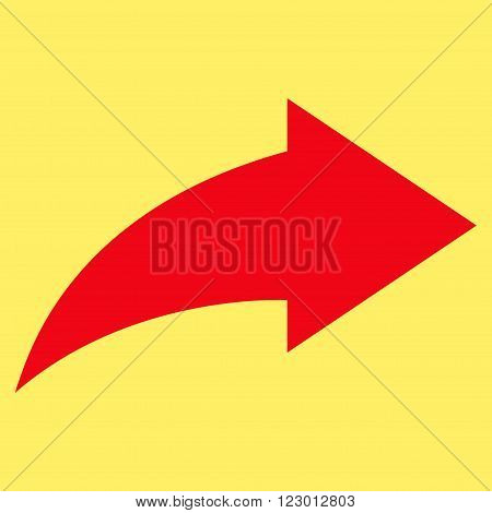 Redo vector icon. Image style is flat redo iconic symbol drawn with red color on a yellow background.
