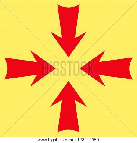 Reduce Arrows vector symbol. Image style is flat reduce arrows pictogram symbol drawn with red color on a yellow background.