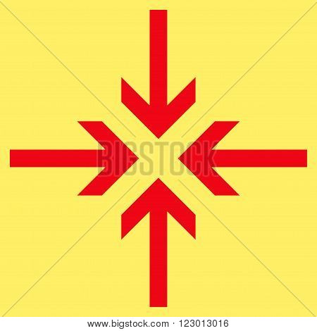 Reduce Arrows vector pictogram. Image style is flat reduce arrows pictogram symbol drawn with red color on a yellow background.