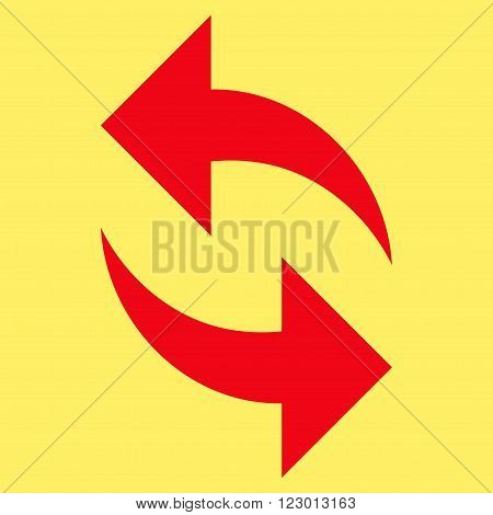 Refresh vector pictogram. Image style is flat refresh pictogram symbol drawn with red color on a yellow background.